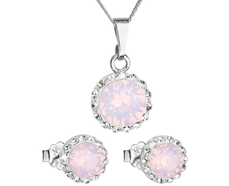 Evolution Group Třpytivá souprava šperků 39152.7 rose opal (náušnice, řetízek, přívěsek)