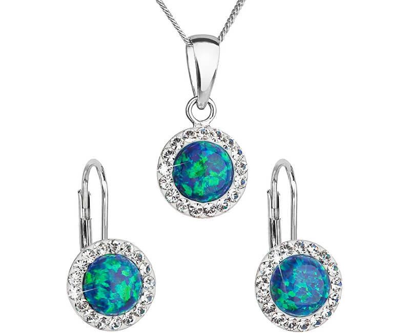Evolution Group Třpytivá souprava šperků 39160.1 & green s.opal (náušnice, řetízek, přívěsek)
