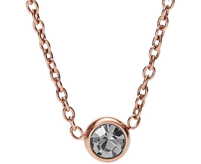 Fossil Bronzový náhrdelník s kryštálom JF02533791