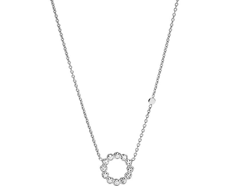 Fossil Colier din oțel cu cristale clare JF02800040