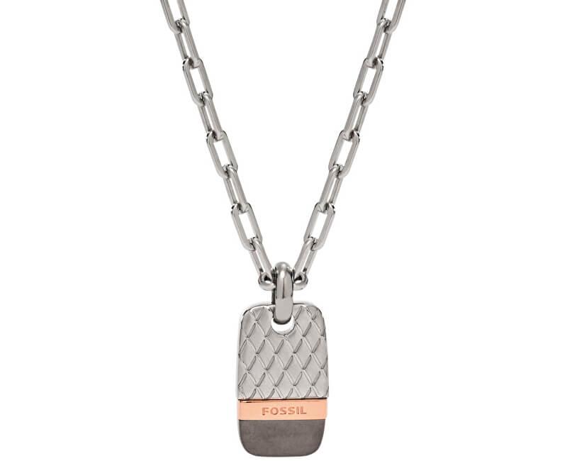 Fossil Pánský ocelový náhrdelník s přívěskem JF02084998