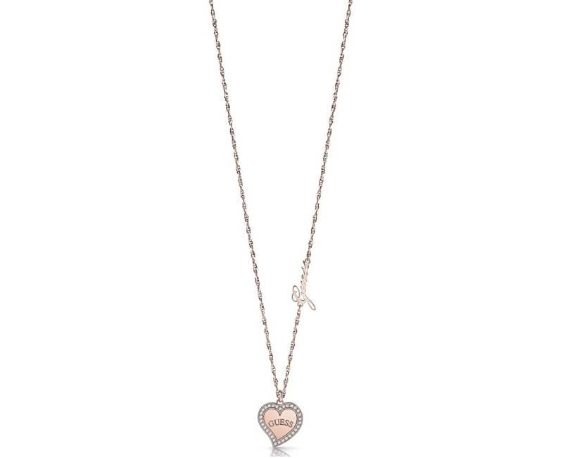 6650dc030 Guess Dámský bronzový náhrdelník se srdíčkem UBN78069 | Sperky.cz