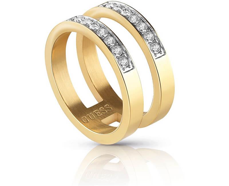 Guess Dvojitý pozlátený prsteň s kryštálmi UBR78007