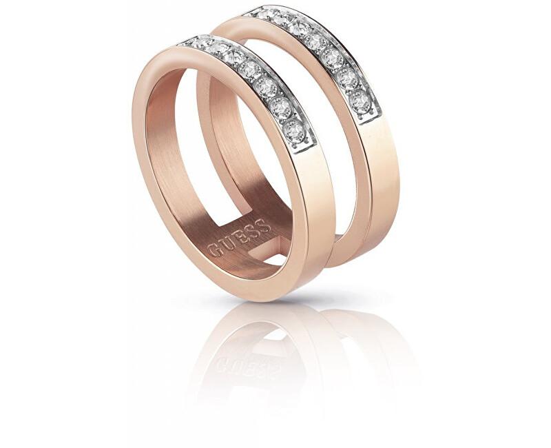 Guess Dvojitý růžově pozlacený prsten s krystaly UBR78008