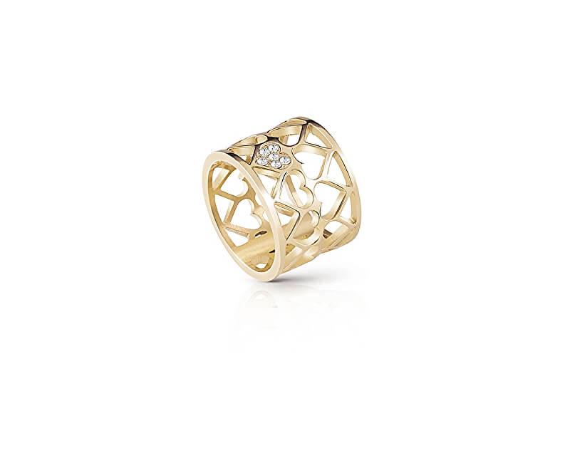 Guess Pozlacený srdíčkový prsten UBR85007
