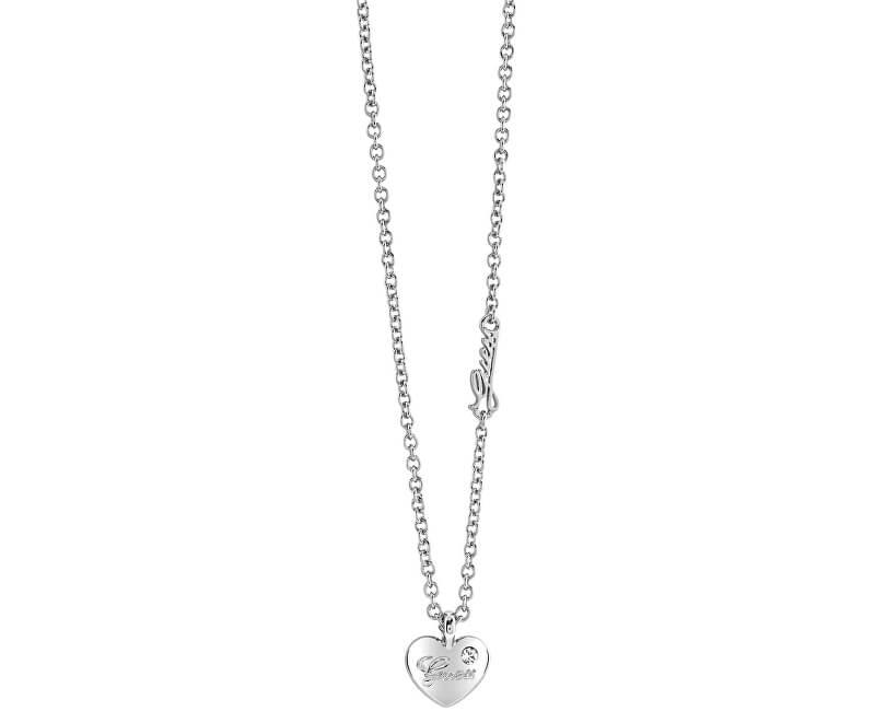 Guess Náhrdelník Srdce s nápisom a kryštálom UBN21526