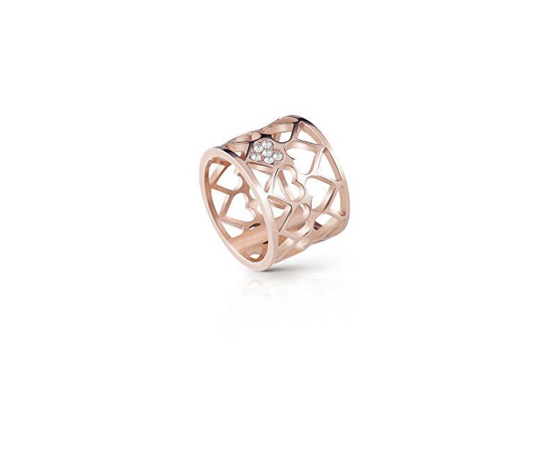Guess Růžově pozlacený srdíčkový prsten UBR85008