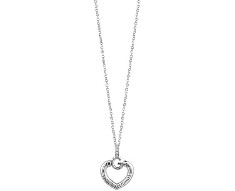Guess Slušivý náhrdelník Srdce s krystaly UBN83009