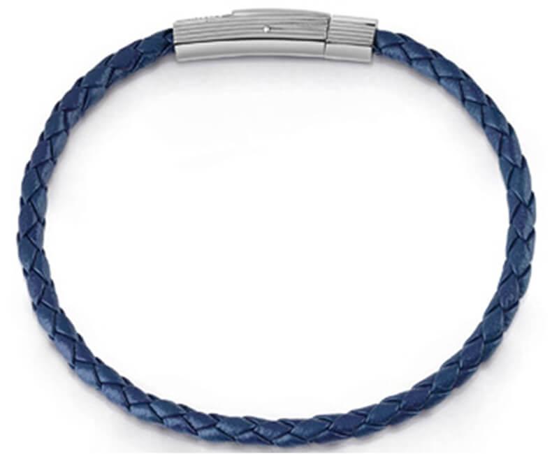 Guess Tmavě modrý kožený náramek UMB85005