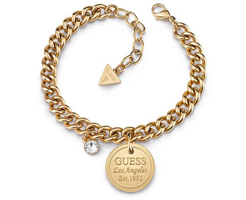 Guess Bratara clara auriu placata cu cristal UBB28071-S