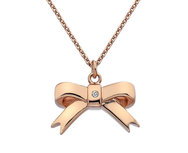Hot Diamonds Bronzový náhrdelník Mašlička s diamantem Ribbon DP631 (řetízek, přívěsek)