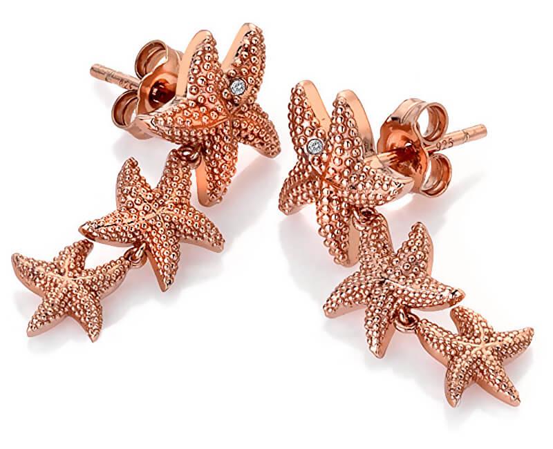 Hot Diamonds Růžově zlacené náušnice s pravými diamanty Daisy DE602