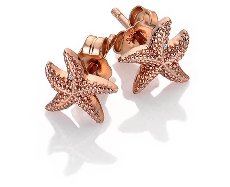 Hot Diamonds Cercei auriu roz cu diamante autentice Daisy DE603