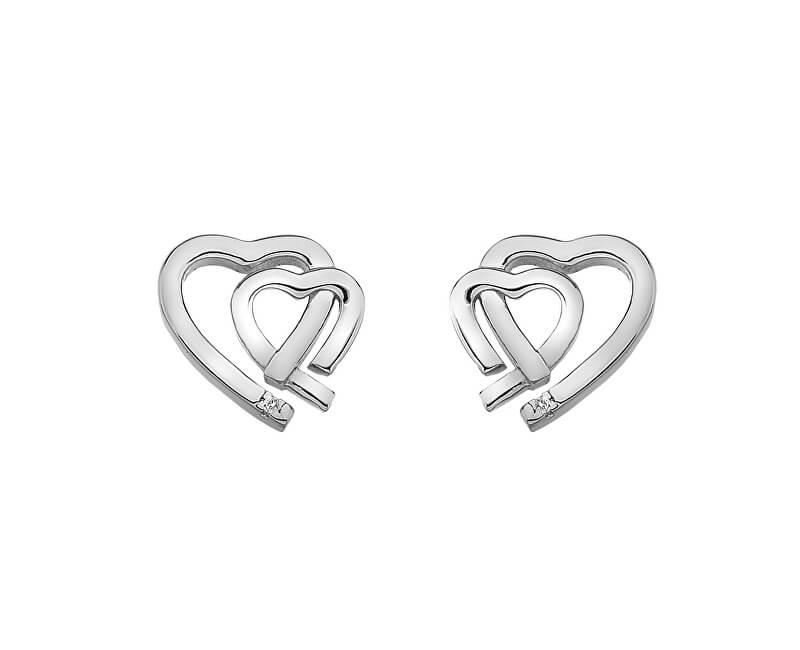 Hot Diamonds Stříbrné náušnice Hot Diamonds Love DE531