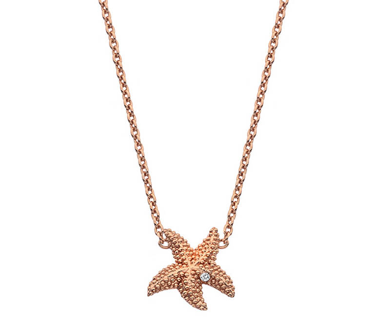 Hot Diamonds Růžově zlacený náhrdelník s pravým diamantem Daisy RG DN135