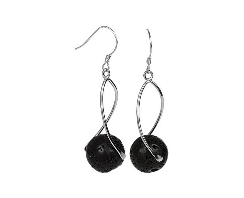 JwL Luxury Pearls Cercei lungi din argint cu pietre lava neagră JL0280
