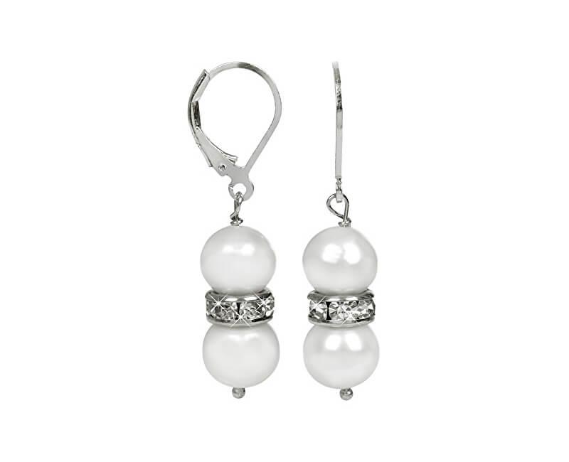 JwL Luxury Pearls Cercei eleganți cu perle reale albe și cristale JL0278