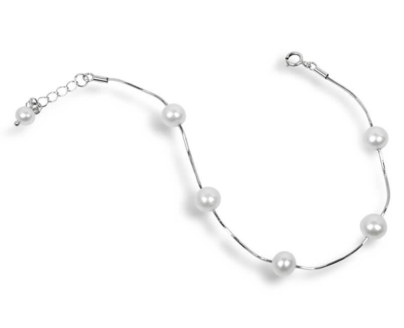 JwL Luxury Pearls Jemný náramek z pravých bílých perel JL0173