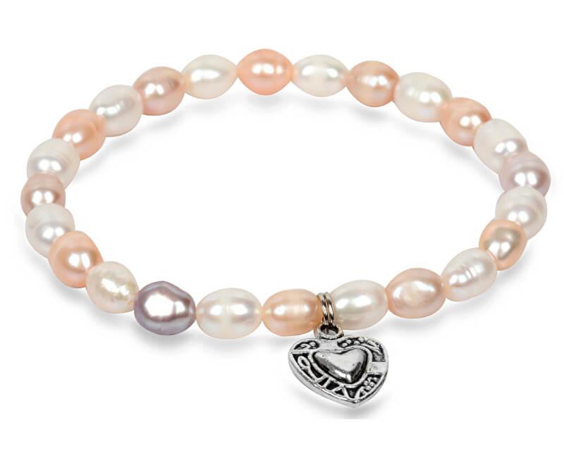 05b9d2d13 JwL Luxury Pearls Jemný náramek z pravých perel s kovovým srdíčkem JL0293