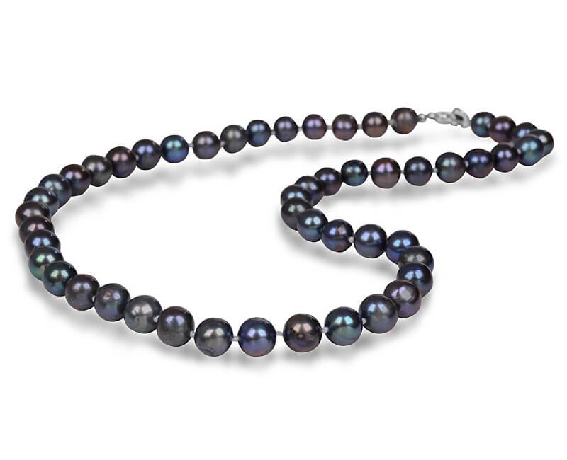 JwL Luxury Pearls Colier cu perle reale albastru metalizat JL0265