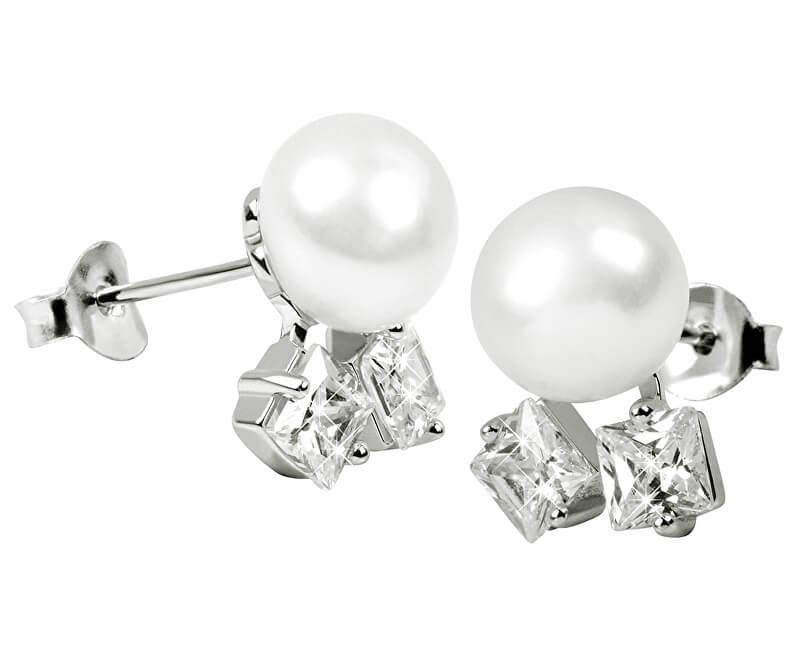 JwL Luxury Pearls Náušnice s pravou perlou a kryštály JL0306