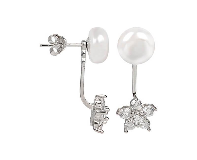 JwL Luxury Pearls Stříbrné dvojnáušnice s pravou bílou perlou a zirkonovou kytičkou 2v1 JL0281