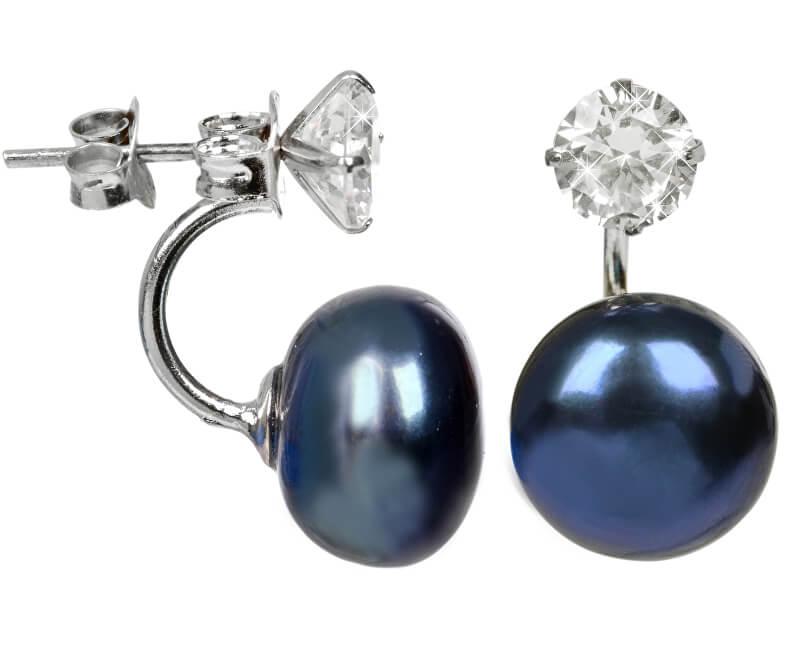 JwL Luxury Pearls Stříbrné dvojnáušnice s pravou modrou perlou a krystalem JL0225