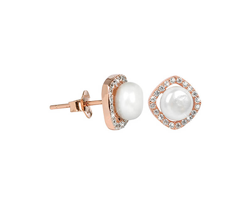 JwL Luxury Pearls Stříbrné náušnice s pravou bílou perlou a krystaly JL0252