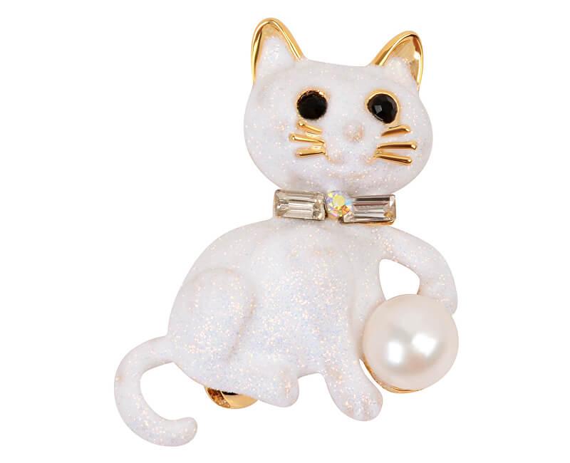 JwL Luxury Pearls Brož Kočička s pravou perlou a krystaly JL0385