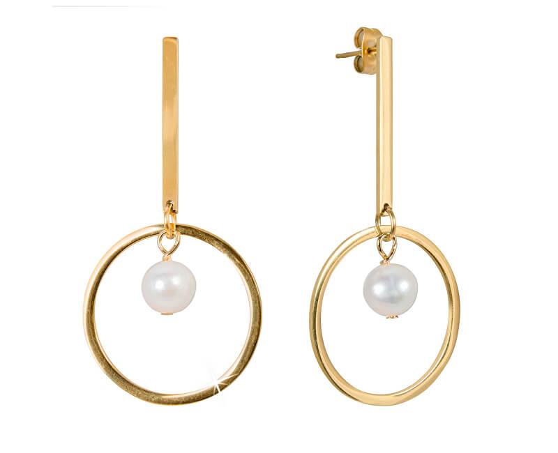 JwL Luxury Pearls Dlouhé ocelové náušnice s pravými perlami JL0489CH