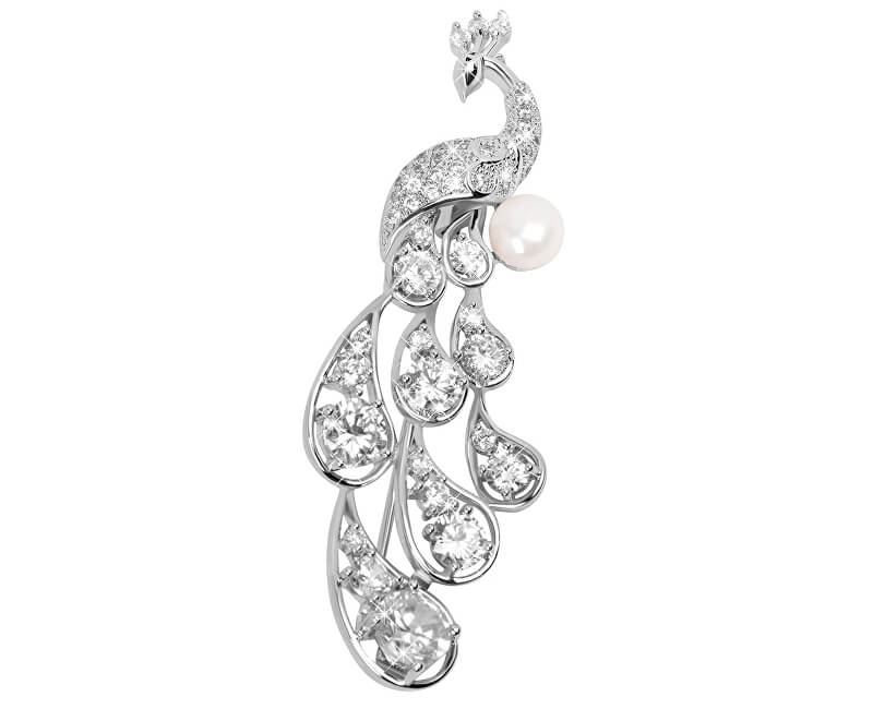 29e576fc7 JwL Luxury Pearls Elegantní brož Páv s pravou perlou a krystaly JL0390