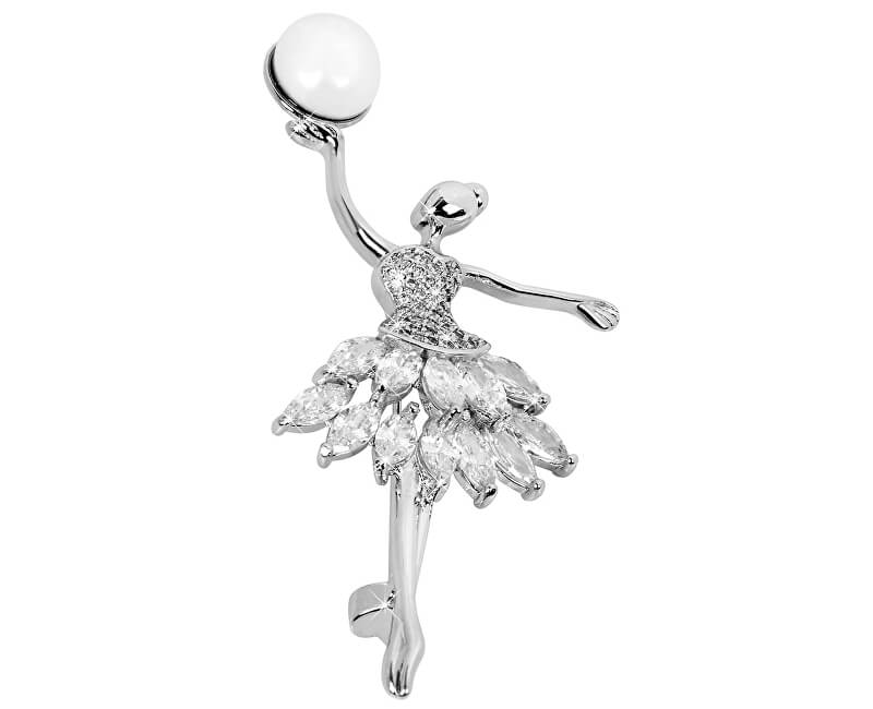 JwL Luxury Pearls Perlová brož Baletka s krystaly JL0374