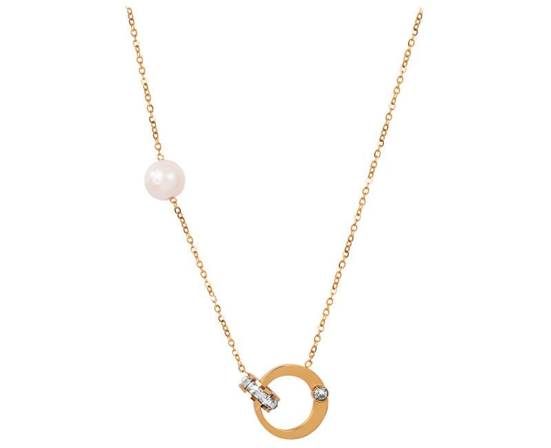JwL Luxury Pearls Pozlacený náhrdelník s pravou perlou a krystaly JL0422