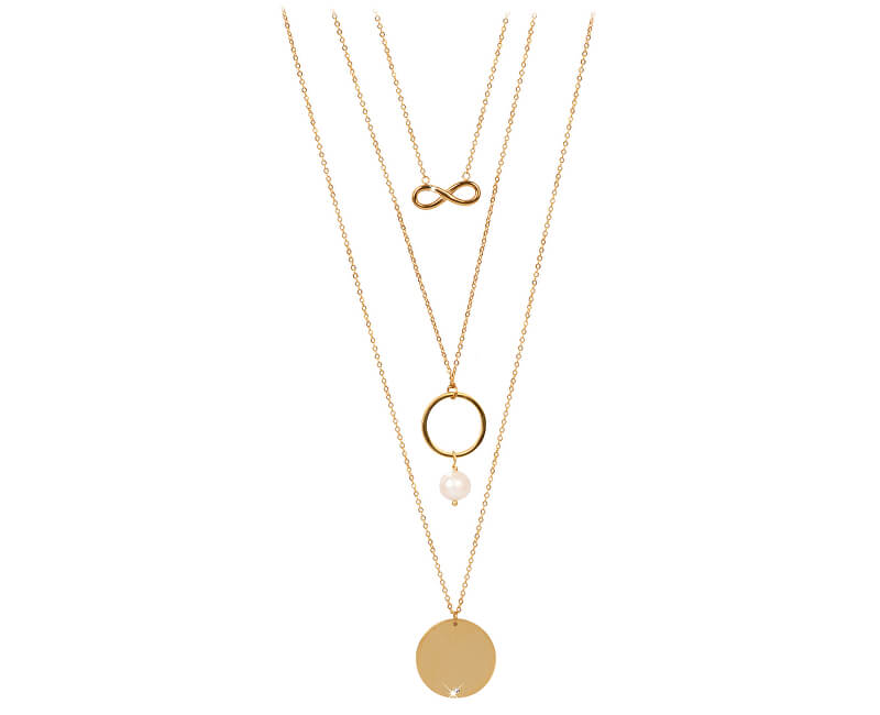 JwL Luxury Pearls Pozlacený vrstvený náhrdelník s pravou perlou JL0421