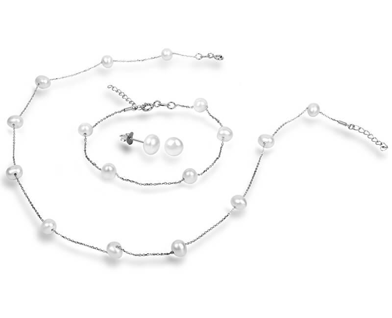JwL Luxury Pearls Souprava náhrdelníku, náušnic a náramku s pravými perlami JL0372