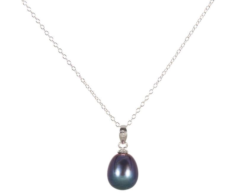 JwL Luxury Pearls Stříbrný náhrdelník s modrou perlou 45 cm JL0438 (řetízek, přívěsek)
