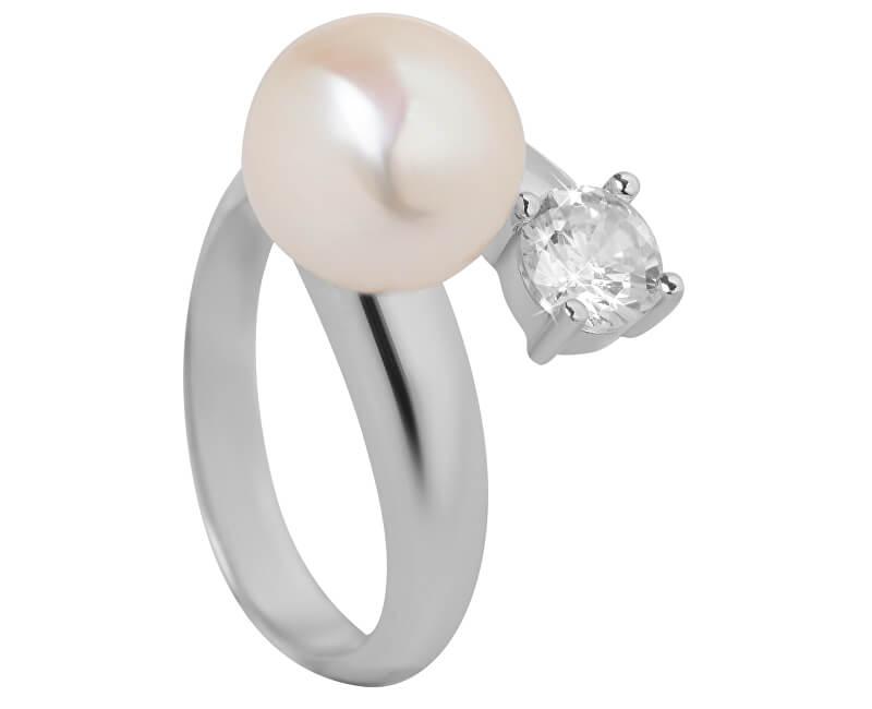 JwL Luxury Pearls Strieborný prsteň s bielou perlou a čírym kryštálom JL0432