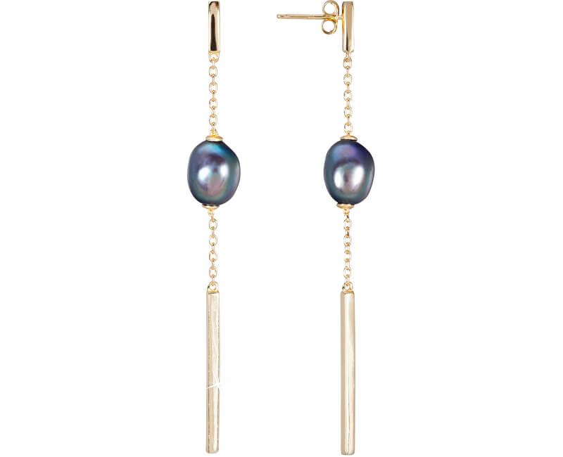 JwL Luxury Pearls Zlacené stříbrné náušnice s pravou modrou perlou JL0463