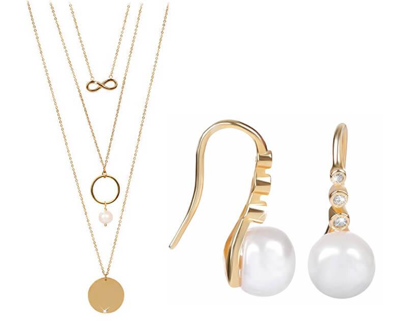 JwL Luxury Pearls Zvýhodněná souprava šperků JL0411 a JL0421