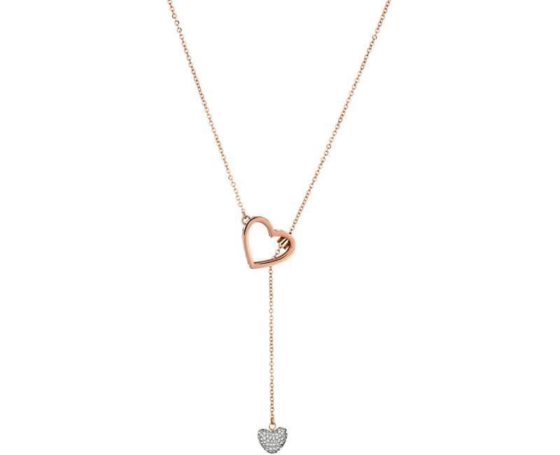 Liu.Jo Růžově zlacený ocelový náhrdelník LJ1188