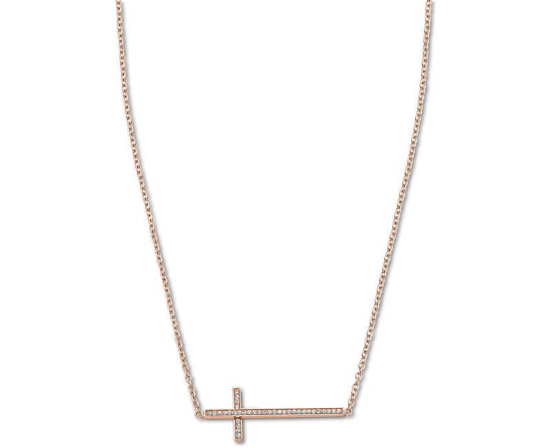 Lotus Style Bronzový náhrdelník s křížkem naležato LS1874-1/3