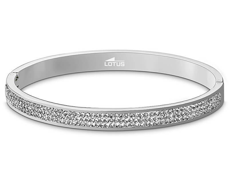 Lotus Style Pevný ocelový náramek s krystaly LS1903-2/1
