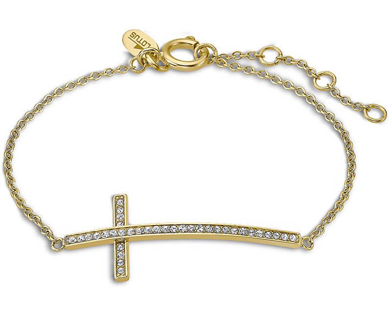 Lotus Style Pozlacený náramek s křížkem naležato LS1874-2/2
