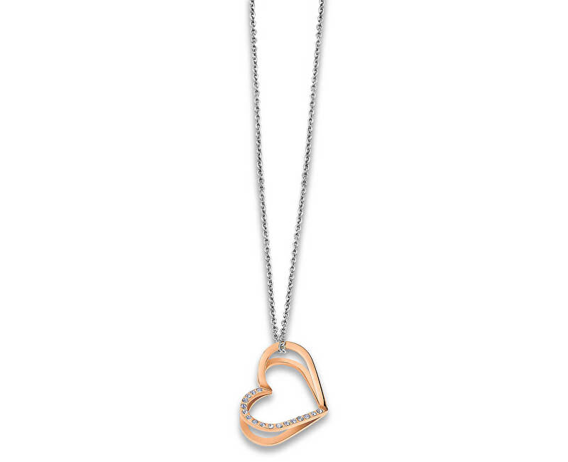 Lotus Style Srdíčkový bicolor náhrdelník s krystaly LS1872-1/2