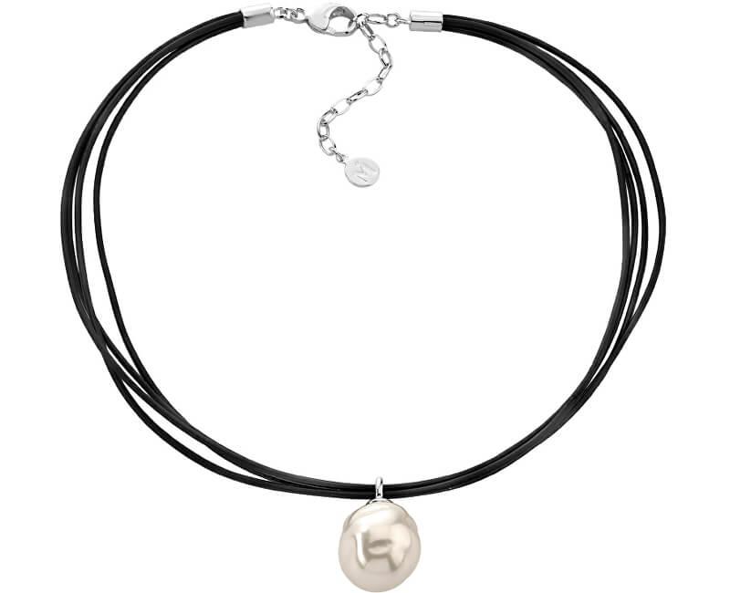 Majorica Kožený náhrdelník s pravou barokní perlou 12029.01.2.000.010.1