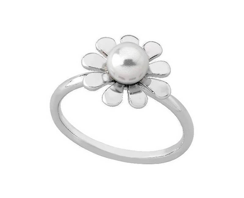 Majorica Květinový stříbrný prsten s pravou perlou 15014.01.2.909.010.1