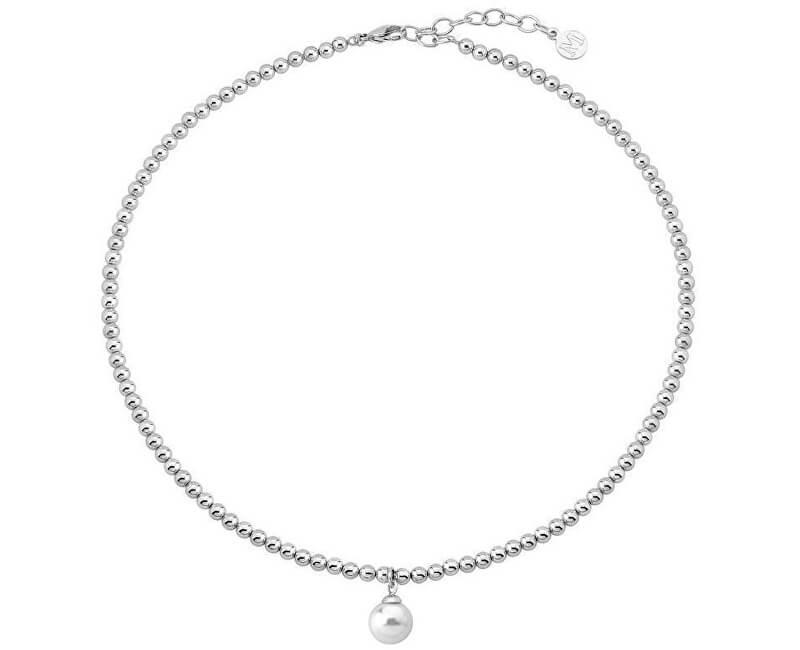 Majorica Luxusní ocelový náhrdelník s pravou perlou 15126.01.0.000.010.1