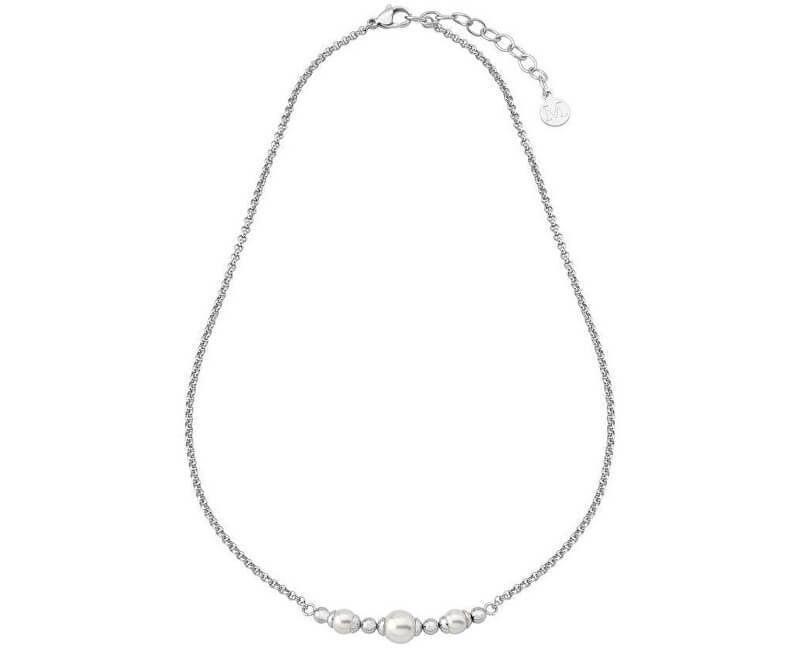 Majorica Luxusní ocelový náhrdelník s pravými perlami 15123.01.0.000.010.1