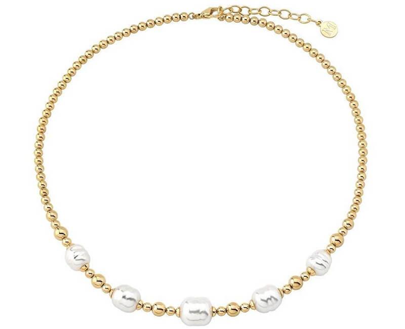 Majorica Ocelový náhrdelník s pravými barokními perlami 15132.01.0.000.010.1