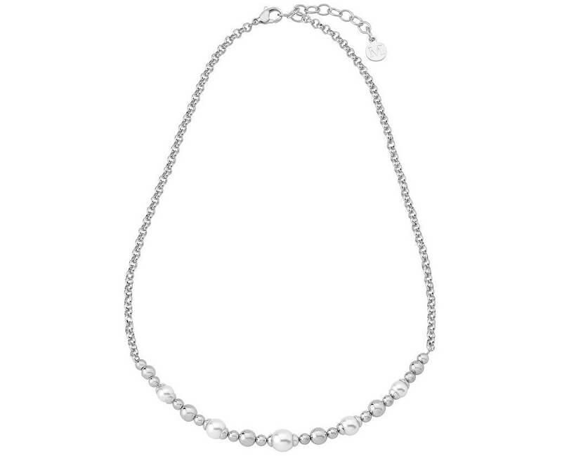 Majorica Ocelový náhrdelník s pravými perlami 15127.01.0.000.010.1